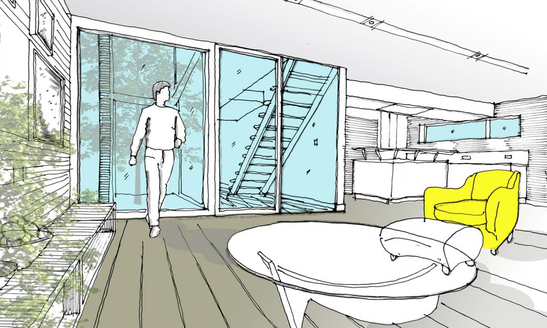 How much does a home extension cost showing sketch design of extended home with yellow chair